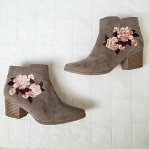 Embroidered Floral Tan Booties